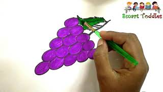 Kids Drawing || ☆GRAPES☆ || Coloring FOR Creative kids,Children,Toddlers ❤❤❤ #05