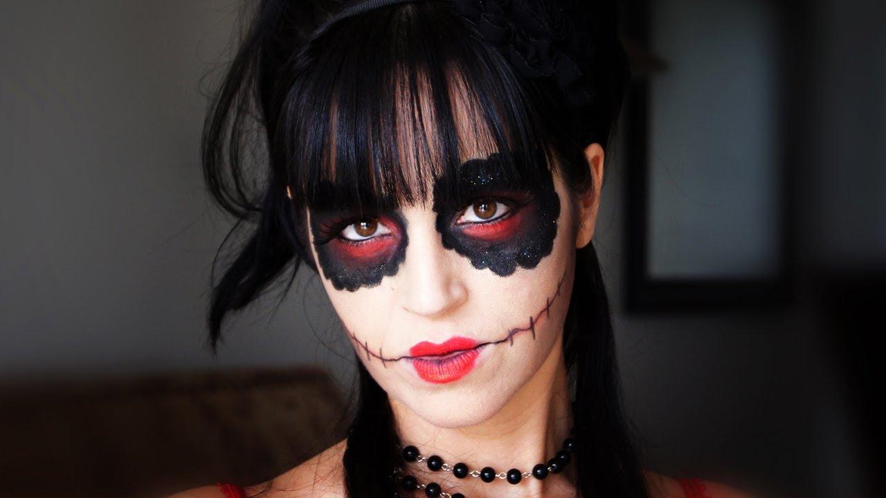 Maquillaje sexy halloween versi n de calavera de az car - Pinturas para halloween ...