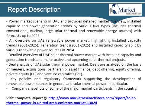 Solar Thermal Power in United Arab Emirates, Market Outlook to 2025, Update 2015   Capacity, Generat