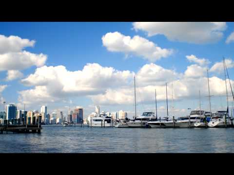 Time-lapse of a harbor in Miami.