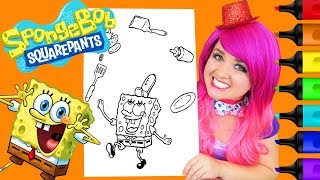 Coloring SpongeBob Krabby Patty Coloring Page Prismacolor Colored Paint Markers   KiMMi THE CLOWN