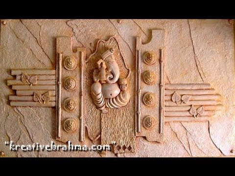 Ganesh wall relief mural art work hyderabad youtube for Clay mural painting