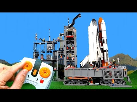 Countdown and launch of big Lego Space Shuttle