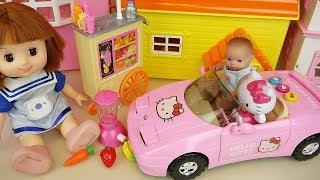 Baby doll juice maker and Hello Kitty car toys   Baby Doli play