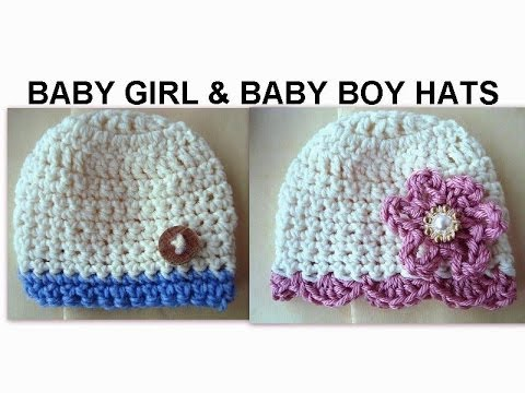 Baby Girl And Baby Boy Crochet Hats How To Diy Youtube