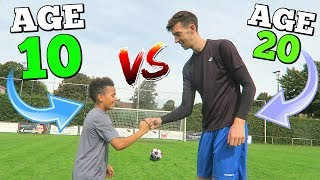 10 YEAR OLD VS 20 YEAR OLD EPIC CROSSBAR CHALLENGE (NEXT RONALDO?)