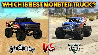 GTA 5 VS GTA SAN ANDREAS MONSTER TRUCK : WHICH IS BEST?