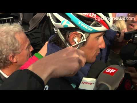 stage 19 Frank Schleck talks after Tour de France at Alpe d'Huez