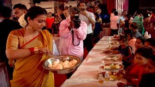 Kajol serves bhog at Durga Puja Pandal | Video
