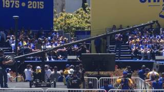 Bob Myers speaks at the Warriors parade