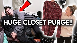 CLEANING OUT MY BOYFRIENDS CLOSET **FIRST TIME IN FOREVER**