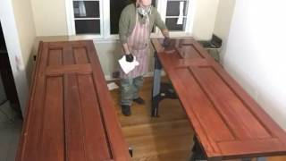 Staining an antique cypress door with oil stain