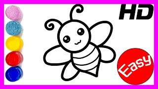 Glitter honey bee coloring and drawing for kids , Toddlers | Learning Colors | Crazy kids art