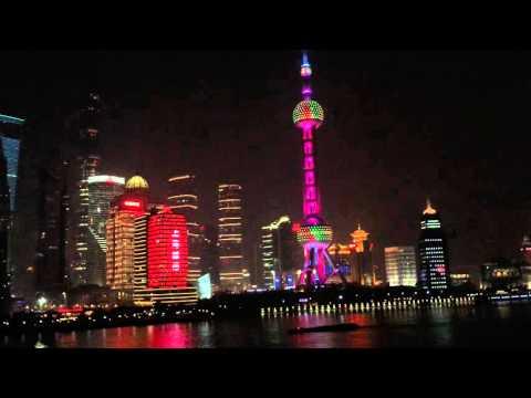 Shanghai night buildings video