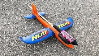 Rocket powered NERF Airplane Glider !! Amazing Flight
