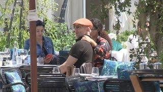 Tina Kunakey and Vincent Cassel show PDA at lunch in Cannes