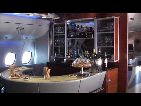 On board Emirates Airbus A380 in flight