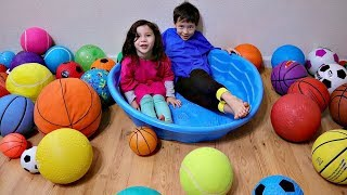 Learn Different Sportball Names with A-Lot of Sport Ball-Pit for Children