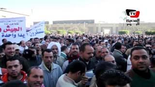 مسيرة حاشدة لعمال «غزل المحلة» للتنديد بالعمليات الإرهابية في سيناء