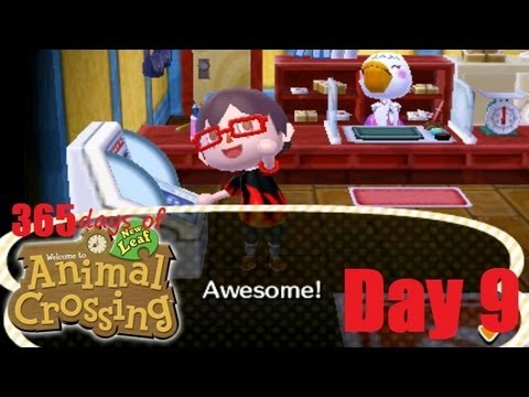 Lets Play Animal Crossing New Leaf Nintendo 3DS + 365 Days + Day 9 Loan Paid Off By Shark Money !
