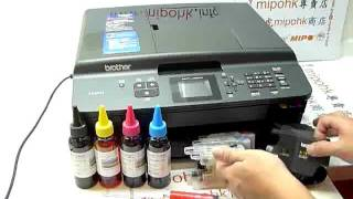 Brother LC-40 LC-73 LC-77 MFC-J430W Refill Ink Cartridge Install mipohk
