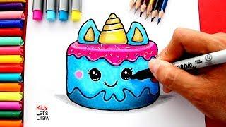 Cómo Dibujar un Pastel Unicornio Kawaii
