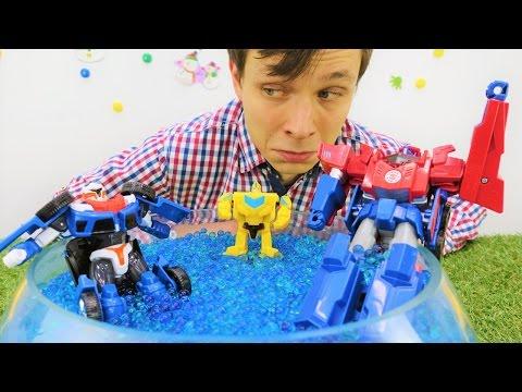 Игры: Трансформеры! Видео про игрушки. Фёдор и Трансформеры идут на рыбалку.