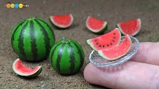 DIY Miniature Watermelon (Fake food) ミニチュアすいか作り