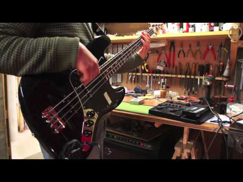 Roland GK-3B Divided MIDI Pickup installed on a Jazz bass - Jack's Instrument Services