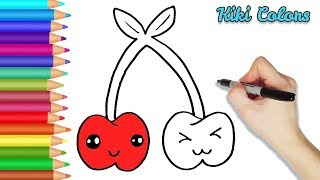 How to Color Twin Cherries Part 2 | Teach Drawing for Kids and Toddlers Coloring Page Video