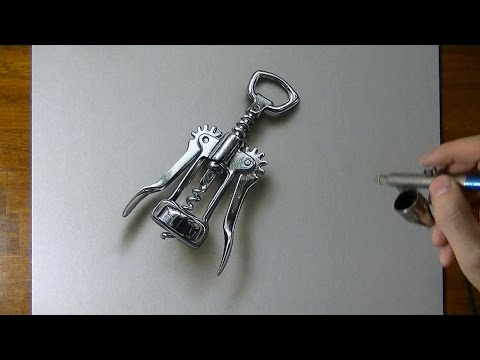 Drawing Time Lapse: a wing corkscrew - hyperrealistic art