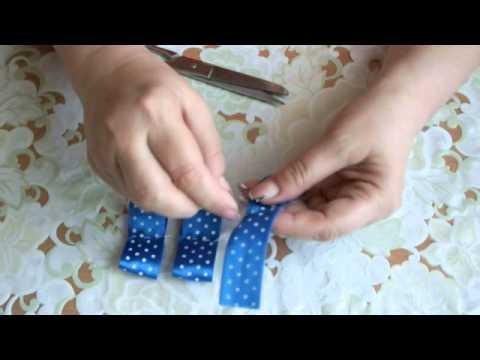 Как сделать бантик из атласной ленты  Satin Ribbon Flower - Tutorial