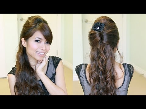 Elegant Prom Half-Updo Hairstyle   Curly Hair Tutorial - Bebexo