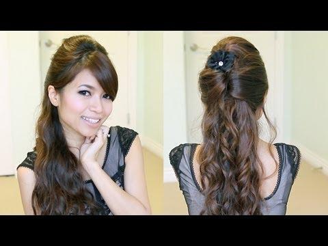 Elegant Prom Half-Updo Hairstyle | Curly Hair Tutorial Bebexo
