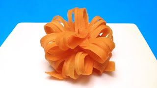How to Make a Gift Bow with a Carrot / Food Art, Life Hack, Cooking Tricks, Garnish