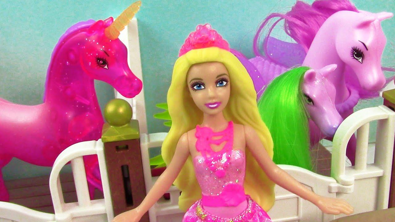 Mini Barbie Baby Pegasus Born Princess Horse Stables