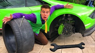 Mr. Joe punctured Wheels on Lamborghini Huracan & Sport Car without Wheels in Tire Service for Kids