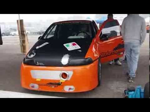 Fiat Punto GT Turbo Drag Racing - Warm Engine and loud sound! StrokerEngineering Modena