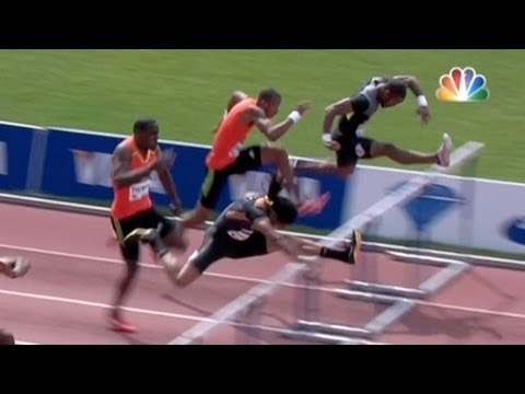 Jason Richardson wins Men's 110h after 3 false starts at 2012 adidas Grand Prix