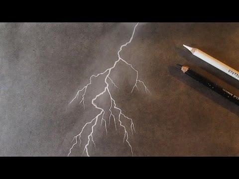 Cómo dibujar un rayo con carboncillo y pastel blanco dibujo de un relámpago