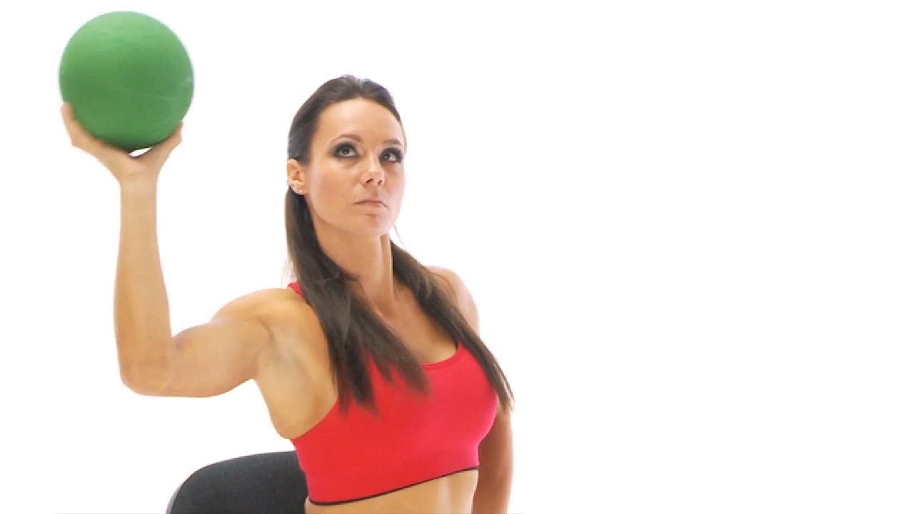 Shoulder exercise - medicine ball rotation seated - YouTube