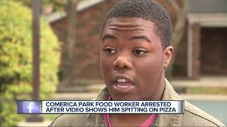 Comerica Park food services employee seen spitting on pizza in police custody