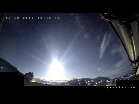 Meteor Fireball December 6  2016 Exploding off the Norwegian Coast