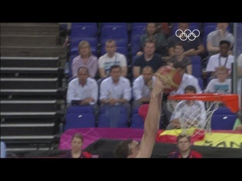 Highlights from the North Greenwich Arena as Spain take on the Russian Federation in the semi-finals of the men's basketball event at the London 2012 Olympic...