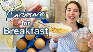 Ivy makes the PERFECT CARBONARA Recipe | Dinner for Breakfast | Working From Home Edition
