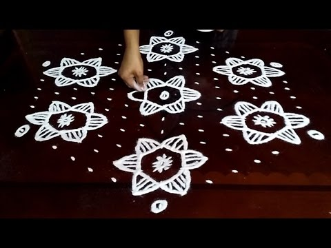 Simple flowers kolam designs with 15 - 8 middle | chukkala muggulu with dots| rangoli design