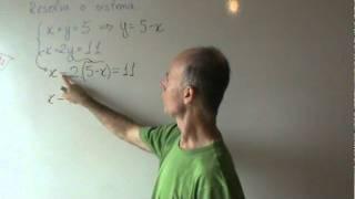 Sistema x + y = 5 substituição