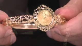 14K/22K Gold Liberty Coin Bangle Bracelet on QVC