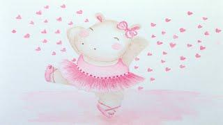 Kids Upbeat Playtime Happy Music Toddler Nursery Songs   Cute Hippo Pink Ballerina Watercolor