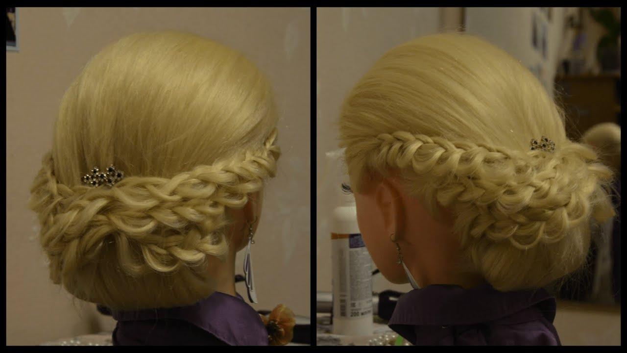 Фото вечерних причесок с элементами плетения на средние волосы